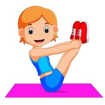 Carácter lindo de la mujer que hace yoga