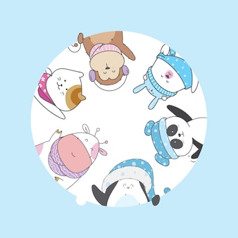 Carácter lindo de dibujos animados de animales