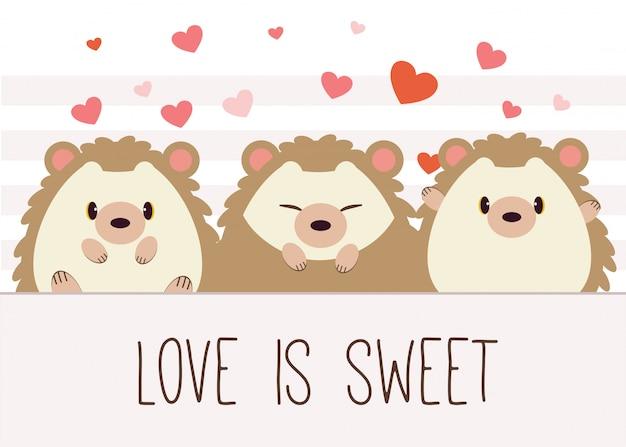 El carácter del lindo erizo con patrón de corazón y texto de amor es dulce.