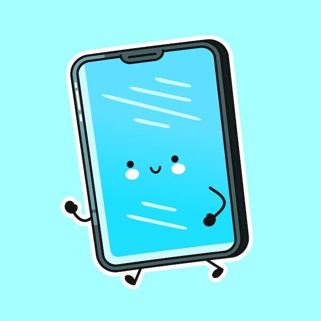 Carácter lindo feliz del funcionamiento del teléfono móvil del smartphone