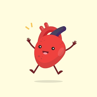 Carácter lindo feliz del órgano del corazón