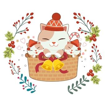 Carácter de lindo gato y crías de gato sentado en la canasta