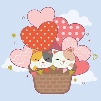 Carácter de lindo gato sentado en globo de aire caliente en el cielo.