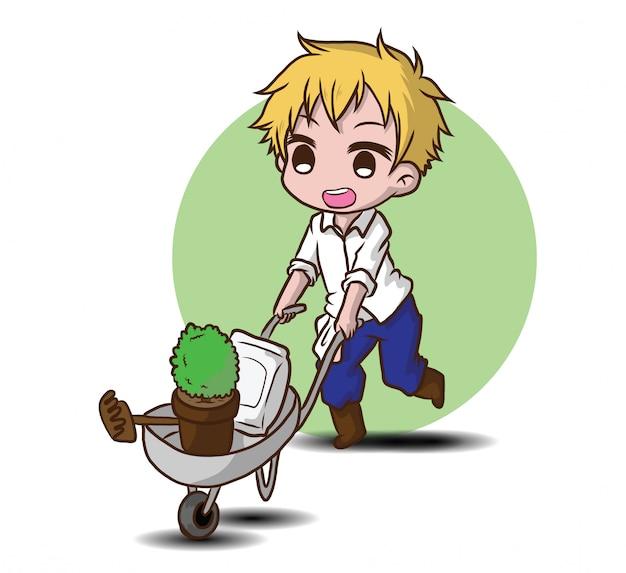 Carácter lindo jardinero., concepto de trabajo.