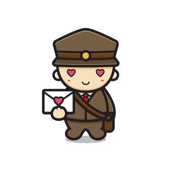 Carácter lindo de la mascota del cartero que sostiene el ejemplo del icono de la historieta del vector de la carta de amor. diseño aislado en blanco. estilo de dibujos animados plana.