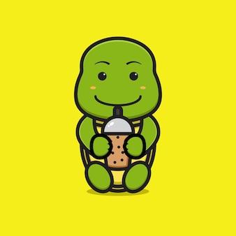 Carácter lindo de la mascota de la tortuga que bebe el ejemplo del icono del vector de la historieta del boba. diseño aislado en amarillo. estilo de dibujos animados plana.