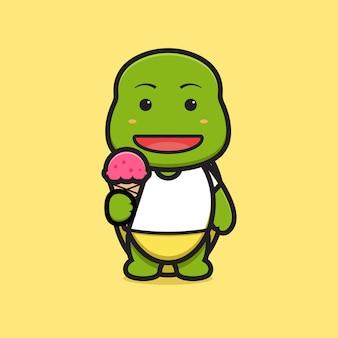 Carácter lindo de la mascota de la tortuga que sostiene el ejemplo del icono del vector de la historieta del helado. diseño aislado en amarillo. estilo de dibujos animados plana.
