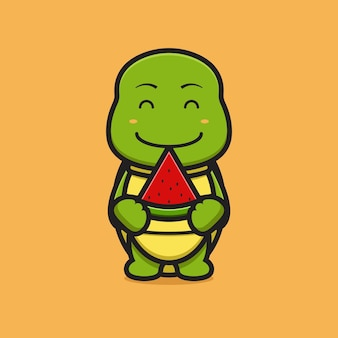 Carácter lindo de la mascota de la tortuga que sostiene el ejemplo del icono del vector de la historieta de la sandía. diseño aislado en amarillo. estilo de dibujos animados plana.