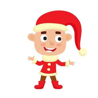 Carácter de lindo niño de navidad en traje de santa claus sonriendo aislado en blanco