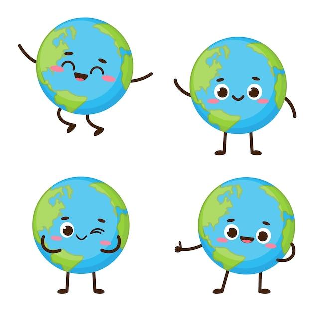 Carácter lindo del planeta tierra. colección de dibujos animados planeta emoji. ilustración de vector de tarjeta del día de la tierra