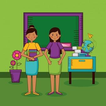 Carácter de maestros en el aula de la escuela