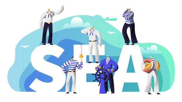 Carácter de marinero de banner de tipografía de mar.