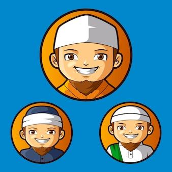 Carácter de mascota conjunto islámico clérigo