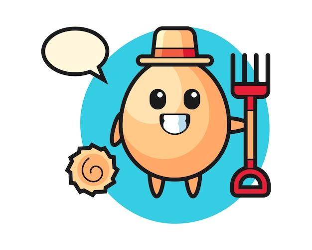 Carácter de la mascota del huevo como agricultor, diseño de estilo lindo para camiseta, pegatina, elemento de logotipo