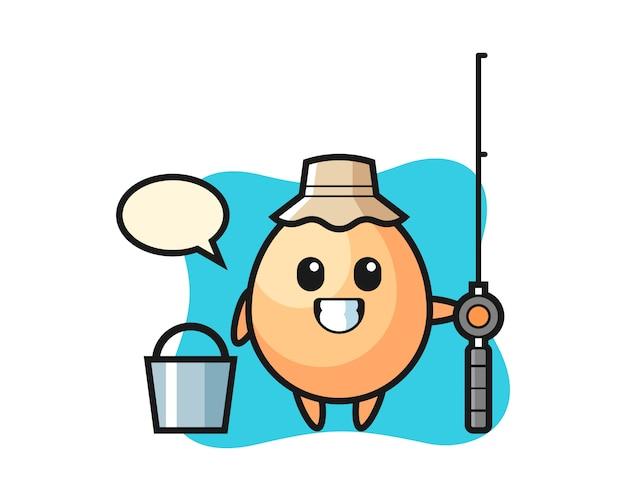 Carácter de la mascota del huevo como pescador, diseño de estilo lindo para camiseta, pegatina, elemento de logotipo