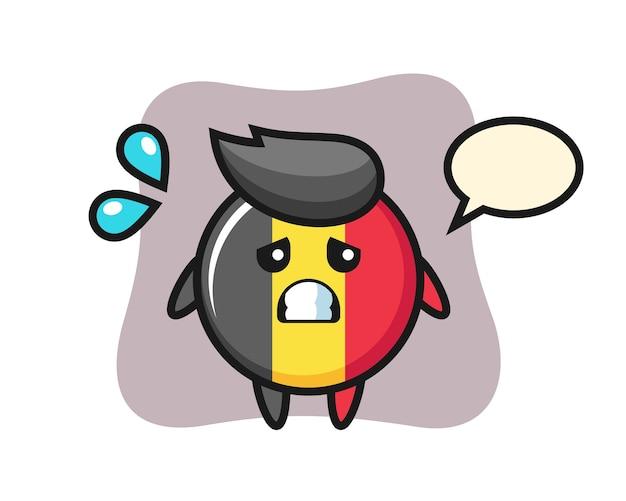 Carácter de mascota de insignia de bandera de bélgica con gesto de miedo