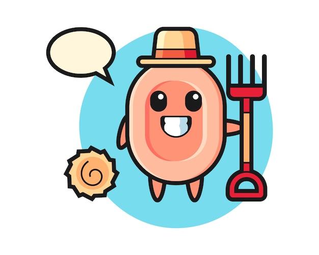 Carácter de mascota de jabón como agricultor, estilo lindo para camiseta, pegatina, elemento de logotipo