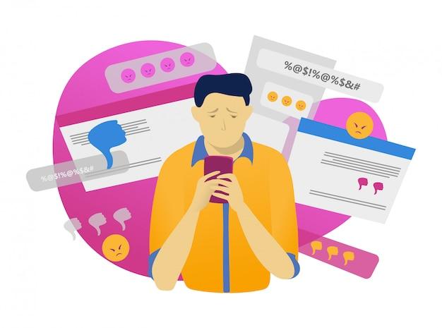 Carácter masculino sostenga el teléfono móvil, el acoso cibernético en línea en blanco, ilustración. tecnología moderna, hostigamiento web.