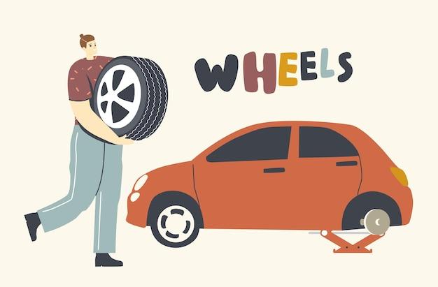 Carácter mecánico o conductor arreglando rueda de coche rota, hombre sujetando el neumático de repuesto en las manos