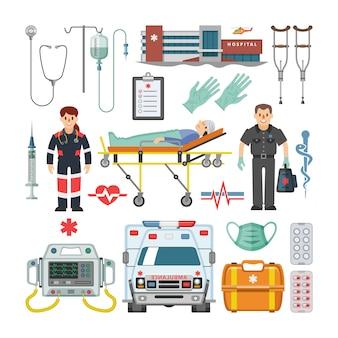 Carácter médico, ambulancia coche y farmacia medicina drogas píldoras conjunto