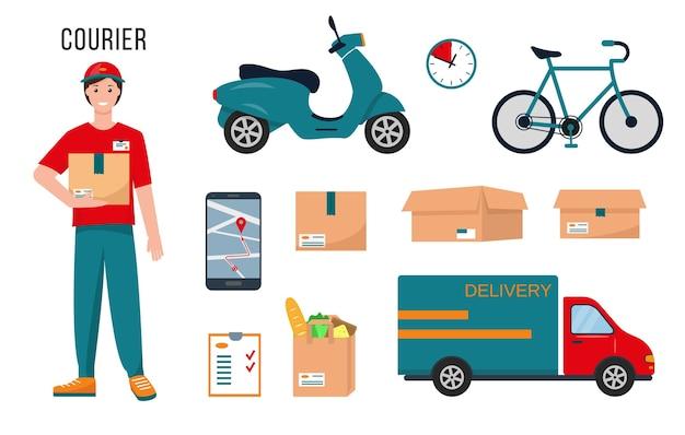 Carácter de mensajero, suministros de entrega y equipo para su trabajo aislado sobre fondo blanco.