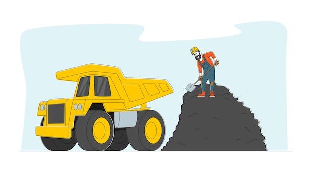 Carácter minero cargando carbón con pala en camión