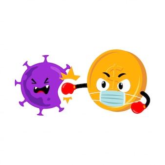Carácter de moneda perforando coronavirus