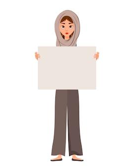 Carácter de mujer en una bufanda con cartel en blanco