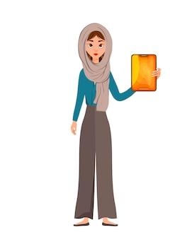 Carácter de mujer en una bufanda con tableta