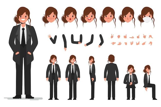 Carácter de mujer en constructor de traje negro para diferentes poses conjunto de varios rostros de mujeres