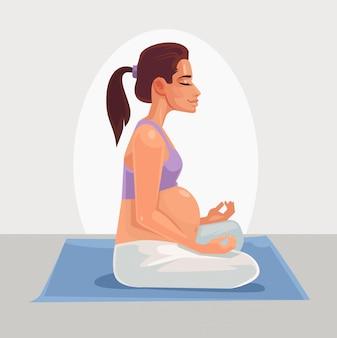 Carácter de mujer embarazada feliz haciendo yoga. ilustración de dibujos animados plana