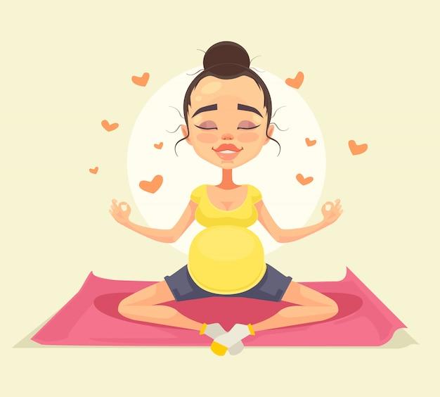 Carácter de mujer embarazada haciendo yoga. ilustración de dibujos animados plana