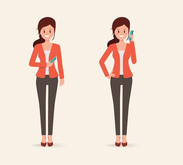 Carácter de la mujer a hablar un teléfono móvil a la comunicación.