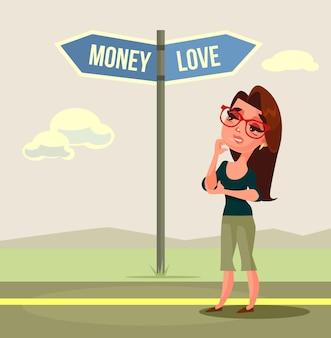 Carácter de mujer haciendo elección amor o dinero. ilustración de dibujos animados plana