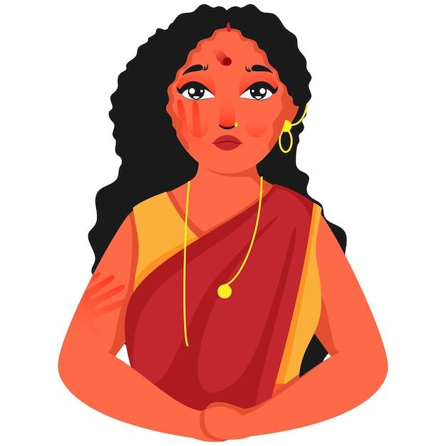Carácter de mujer hindú de tristeza en blanco
