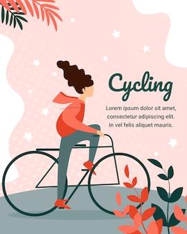 Carácter de mujer joven andar en bicicleta en el parque de la ciudad