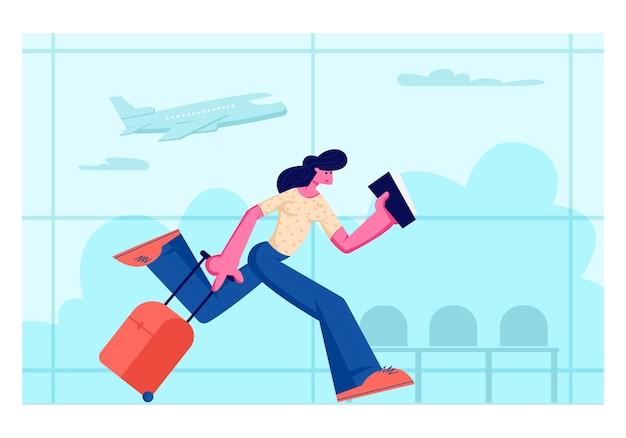 Carácter de mujer joven con billete en manos corriendo con equipaje en la zona de espera de la terminal del aeropuerto con avión volador