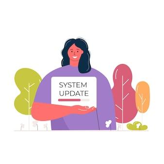Carácter de mujer joven con cartel con barra de progreso. actualización del sistema y concepto de carga de archivos. cargando vector de banner para página web ecológica.