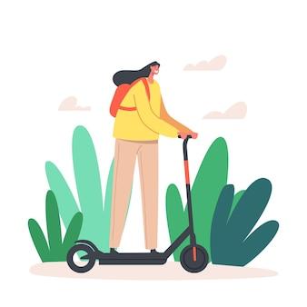 Carácter de mujer joven conduciendo scooter eléctrico en el parque de la ciudad en el día de verano. actividad al aire libre, estilo de vida del habitante en megapolis, recreación al aire libre de verano de niña feliz. ilustración vectorial de dibujos animados