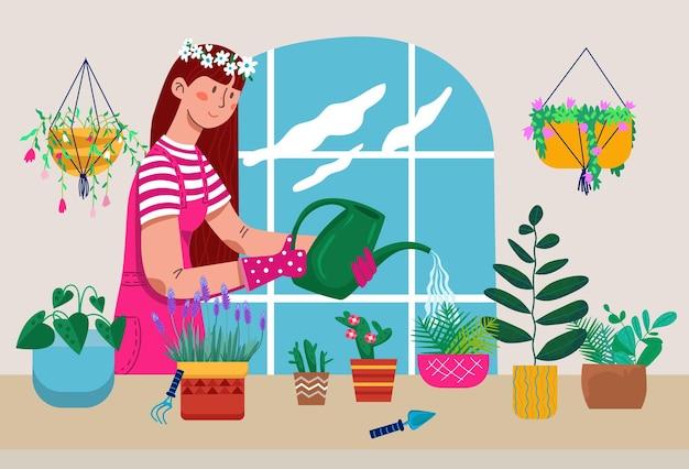 Carácter de mujer joven regando varias plantas domésticas