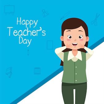 Carácter de mujer maestra con letras del día del maestro