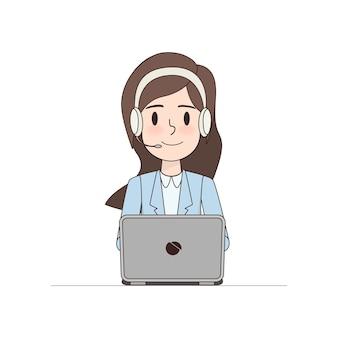 Carácter de mujer de negocios en call center.