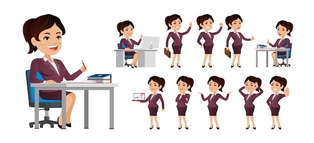 Carácter de mujer de negocios en diferentes poses y emociones.