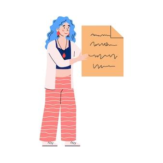 Carácter de mujer de negocios con ilustración de dibujos animados de lista de tareas