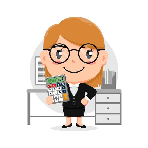 Carácter de mujer sosteniendo calculadora en la oficina de recepción con anteojos