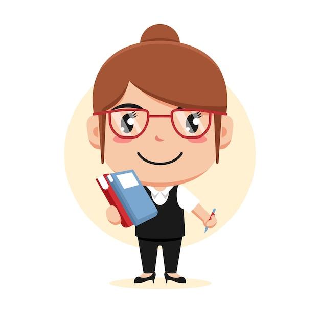 Carácter de mujer sosteniendo libros y bolígrafo con anteojos