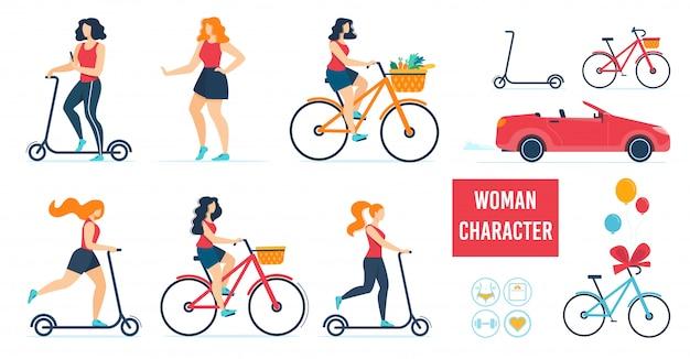 Carácter de mujer usando diferentes set de transporte