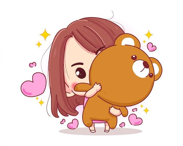 Carácter de la muñeca del oso de peluche del abrazo de la muchacha linda con el concepto feliz del regalo de san valentín aislado en el fondo blanco.