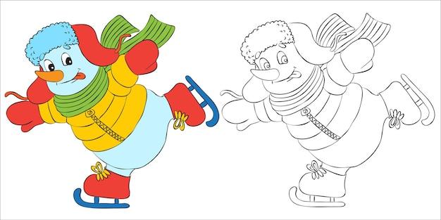 Carácter de muñeco de nieve divertido vector disfrazado de santa patinaje. esquema para libros para colorear