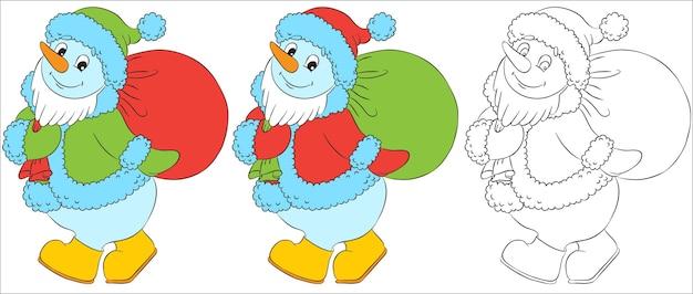 Carácter de muñeco de nieve divertido vector disfrazado de santa